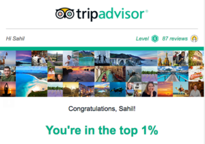 Sahil Banga among Top 1% on Tripadvisor